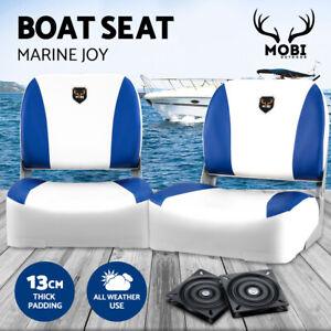 MOBI OUTDOOR 2X Folding Boat Seats Marine Seating Set All Weather Swivel Blue