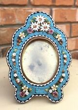 Antique Unusual Turquoise Floral Micro Mosaic Frame w/ Daisies