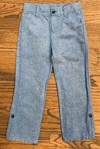 Janie & Jack Weekend Best Blue Linen Blend Chambray Pants Roll Up Cuff Boys 5
