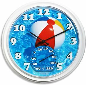 Springfield 98001 14 inch Clock with Thermometer, Beach Ball