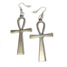 "Egyptian 3D Ankh Silver Plated Charm French Hook 2"" Gothic Earrings kill star"