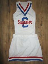 """SUPERIOR Cheerleader Uniform Cheer Outfit Child Yth Teen 30"""" Top 27 Waist White"""