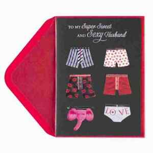 Papyrus Valentine's Day Card To Sweet & Sexy Husband - Boxers - Wanna Unwrap You