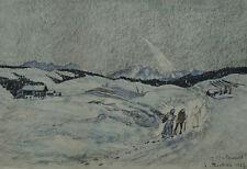 """Winterlandschaft von Anton Peschka """"Weinacht"""" Sign.: A. Peschka 1927."""
