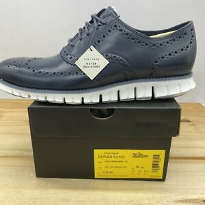 NEW Sz 10 Cole Haan Zerogrand Wingtip Oxford Navy Blue Athletic Casual C32124