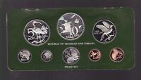1977 Trinidad & Tobago Proof Coin Set includes Silver Coins  D-940