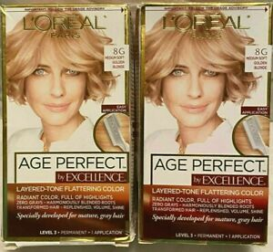 L'Oreal Age Perfect By Excellence Hair Color 8G Medium Soft Golden Blonde 2 PACK