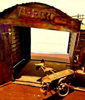 Rare handmade 1940s Copper & Brass Biplane and Airport Hangar Music Box