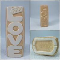 "VINTAGE RETRO NELSON MCCOY ""WITH LOVE"" TAN CREAM SMALL PLANTER, CIRCA 1970'S"