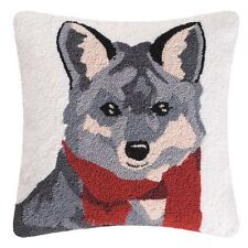 """Welcome Friends Hooked Fox Toss Pillow 18""""Square,Fox with Red Scarf,Throw Pillow"""