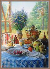 Russian Tea Party Samovar Flowers Daisy Cherry Country House Butterfly Postcard