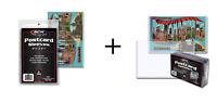 (100) BCW Regular Postcard Toploaders Topload Holders + Pack of 100 Sleeves