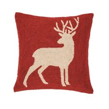 BUCK ACCENT PILLOW : HOOKED RED CABIN LODGE TUFTED DEER KILLIAN THROW TOSS