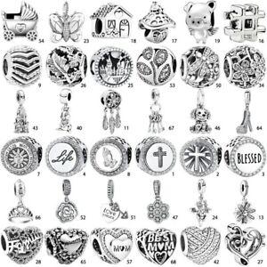 God Bless Cross words S925 silver charms pendant bead For bracelet bangle chain