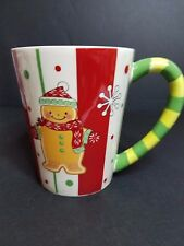 Ginger bread cookie red white green Christmas coffee mug cup 14 oz hand painted