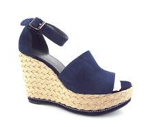 abe13dac198 New STUART WEITZMAN Sizee 9.5 SOHOJUTE Navy Blue Espadrille Wedge Sandals  Shoes