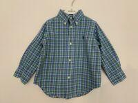 "Boys Polo Ralph Lauren Age 2 - 3 Years Shirt Blue Green Check Cotton PTP 13.5"""