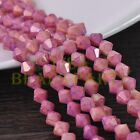 New 100pcs 4mm Bicone Gold Foil Faceted Glass Loose Spacer Beads Pink&Purple