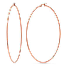 3.5 Inch Stainless Steel Rose Gold Tone Hoop Earrings