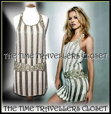 VTG KATE MOSS TOPSHOP 20s FLAPPER DRESS BEADED 30s GATSBY JAZZ AGE ART DECO UK14