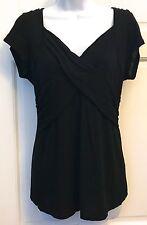 INC International Concepts Womens Black Knit Top SZ L Stretchy V Neck Cap Sleeve