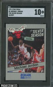 1991 Star Equal Glossy The Silver Season #1 Michael Jordan HOF SGC 10 GEM MINT