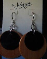Jody Coyote Earrings JC0845 New Sterling Silver wood black brown dangle Made USA