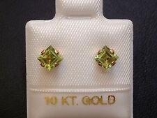 Feinste Peridot Ohrstecker Ohrringe - 4 x 4 mm - 10 Kt. Gold -417- Carré Schliff