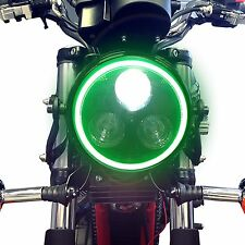 Black Metal Motorbike LED Headlight & Green Halo Ring Fits Suzuki Bandit Models