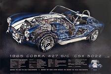 2016 Special! 1965 Cobra 427 S/C Cutaway Artist: D. Kimble Car Poster Rare! WOW!