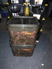 FOX  Carp Fishing Square Camo Bait Bucket 10L / 10 Litre X 2 - CBT006