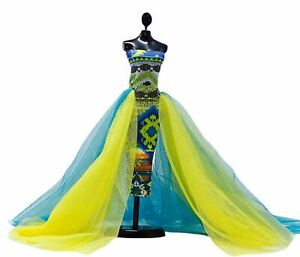 Stunning Fitted Blue and Yellow Gown with Fluffy Side Ruffles, Clothes For Dolls