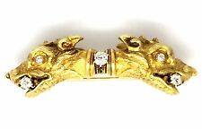 Antique 18K Yellow Gold Two-headed Dog Diamond Brooch / Pin - HM1457