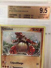 BGS 9.5 Ita Italian Hidden Legends Groudon Holo Foil Secret Rare Pokemon Card!