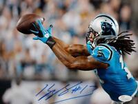 Kelvin Benjamin Signed Carolina Panthers 8x10 Reaching for Pass Photo JSA W Auth