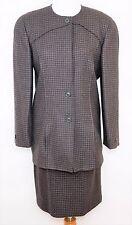 VINTAGE LOUIS FERAUD 100% Wool Skirt Suit - Brown & Black Geometric - WOMEN'S 6
