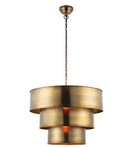 Morad Tiered Pendant Light in Aged Brass