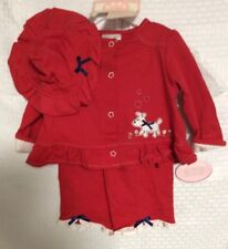 BabyWorks New 3 piece Outfit  **Adorable  Pants, Hat And Top Size 6-9 Mos  Red