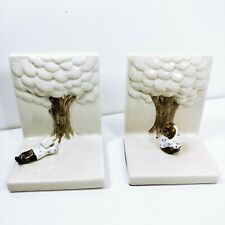 Vintage Fitz & Floyd Bookends Children Reading and relaxing under tree Ceramic