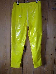 PVC-U-Like PVC Trousers Shiny Yellow Zip Crotch Pants Bottoms 4XL PU Vinyl