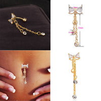 Newfangled Reverse Belly Ring Dangle Clear Navel Bar Gold  Body Piercing Jewerly