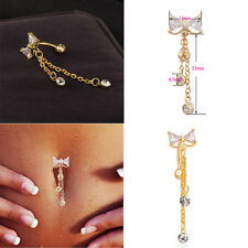 Newly Reverse Belly Ring Dangle Clear Navel Bar Gold  Body  Piercing Jewerly