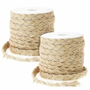 """2Pcs 26ft Natural Jute Rope Thick Braided Twine String 0.4"""" for DIY Gift Packing"""