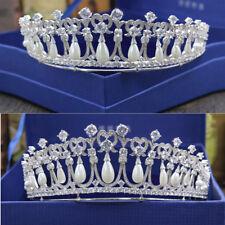 Brides Wedding Tiaras Accessories Imitation Pearl Crown Zircon Princess Crown