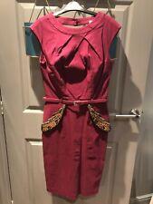 Paper Dolls Burgandy Peplum Dress with beading UK 10