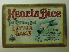ANTIQUE VINTAGE CIRCA 1914 PARKER BROTHERS HEARTS DICE LETTER GAME TOY ORIGINAL