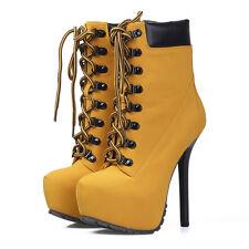 New Ladies Heel 14.5cm Lace Up Platform Stiletto Ankle Boots - TAN Size 5-8