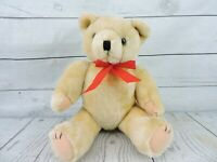 "Vintage Beige Jointed Teddy Bear Plush 13"" Stuffed Animal Red Bowtie Tan Brown"