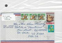 Japan to malta air mail Stamps Cover Ref 8543
