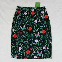 Kate Spade Jardin Tile Jacquard Pencil Skirt Women's Black Floral Textured $228